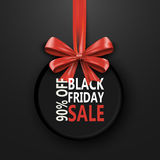 Black Friday sale inscription design template. Black Friday banner with bow ribbon. Discount 90 special off design. Banner. Shopping promotion poster. Vector Stock Image
