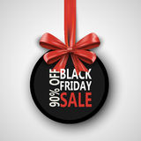 Black Friday sale inscription design template. Black Friday banner with bow ribbon. Discount 90 special off design. Banner. Shopping promotion poster. Vector Stock Photo
