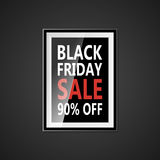 Black Friday sale inscription design template. Black Friday banner with bow ribbon. Discount 90 special off design. Banner. Shopping promotion poster. Vector Royalty Free Stock Image