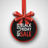 Black Friday sale inscription design template. Black Friday banner with bow ribbon. Discount 90 special off design. Banner. Shopping promotion poster. Vector Stock Photography