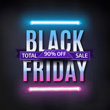 Black Friday sale inscription design template. Black friday sale banner. Glowing neon background. Vector illustration Royalty Free Stock Images