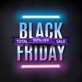 Black Friday sale inscription design template. Black friday sale banner. Glowing neon background. Vector illustration stock illustration