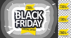 Black Friday sale. Vector illustration. Black Friday sale inscription design template, special offer, up to 10 30 50 60 off. Vector illustration vector illustration