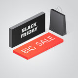 Black Friday Sale Isometric Banner design template. Vector black Friday Sale Isometric Banner design template Royalty Free Stock Photos