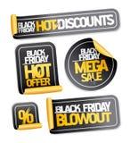 Black Friday Sale klistermärkeuppsättning Royaltyfria Bilder
