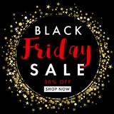 Black friday sale on black label banner template. Black Friday sale banner, black tag with golden sparks and stars round. Special offer, 50% off shop now. Vector Stock Photo