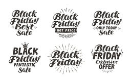Black Friday, Sale label. Lettering, calligraphy vector. Icons and symbols Stock Image