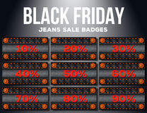 Black friday sale label with percents Royalty Free Stock Images