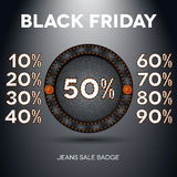 Black friday sale label with percents Stock Image