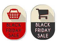 Black friday sale labels with shopping basket and cart Stock Image
