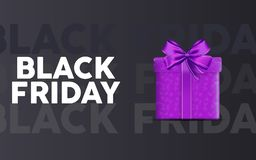 Black friday sale sale landing page with purple suprise packet in black gradient background. vector illustration. EPS 10 vector illustration