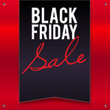 Black Friday sale large banner, pennant, flag on a bright, red background. Black Friday sale large black banner, pennant, flag on a bright, red background with Royalty Free Stock Photo
