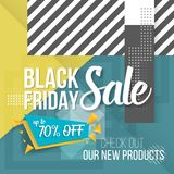 Black Friday Sale Lettering. Modern Paper Lettering on Trendy 90s Style Geometric Background Royalty Free Stock Images
