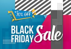 Black Friday Sale Lettering. Modern Paper Lettering on Trendy 90s Style Geometric Background. Illustration of Black Friday Sale Lettering. Modern Paper Lettering Vector Illustration