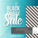 Black Friday Sale Lettering. Modern Paper Lettering on Trendy 90s Style Geometric Background Royalty Free Stock Photos
