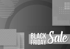 Black Friday Sale Lettering. Modern Paper Lettering on Trendy 90s Style Geometric Background Stock Image