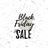 Black Friday sale lettering typography with burst on a old textured background.   Stock Images