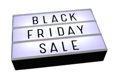 Black friday sale on lightbox isolated on white stock photography