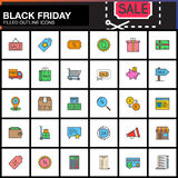 Black Friday Sale line icons set, Shopping filled outline vector Royalty Free Stock Photo