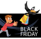 Black Friday sale. Man trying to catch crow who carries stolen p. Ackages with purchases. Cartoon styled vector illustration. Elements is grouped and divided Stock Photography