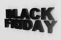 Black Friday, sale message for shop, big discount. 3d text in black and white color. Modern design. Banner for black stock illustration