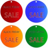 Black Friday Sale on Muti Colors Circle Labels. Circular Glossy Sticker in Blue, Red, Green and Orange Colors with Black Friday Sale Wording, Sign for Start Royalty Free Stock Photo