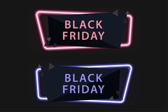 Black Friday on Sale , Neon Light , Special offer banner for you. R design , discount clearance event festival , minimal style , sticker , price tag , badge Royalty Free Stock Image