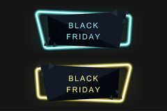 Black Friday on Sale , Neon Light , Special offer banner for you. R design , discount clearance event festival , minimal style , sticker , price tag , badge Stock Image