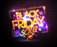 Black friday sale neon poster, holiday massive savings design Stock Photo