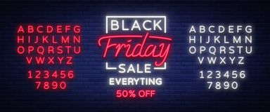 Black Friday sale neon sign, neon banner, background brochure. Glowing neon sign, bright glowing advertising, sales. Discounts Black Friday. Vector illustration Stock Photo