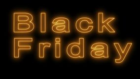 Black Friday sale neon sign in gold letters. vector illustration
