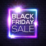 Black Friday Sale neon sign. Square sign on brick. vector illustration