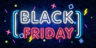 Black Friday Sale neon sign vector. Black Friday Sale Design template neon sign, light banner, neon signboard, nightly bright adve. Rtising, light inscription stock illustration