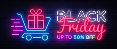 Black Friday Sale neon text vector design template. Black Friday Sale neon logo, light banner design element colorful. Modern design trend, night bright stock illustration
