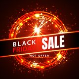 Black friday sale neon vector banners. illustration Stock Images