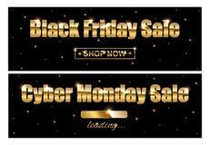 Black Friday Sale och Cybermåndag Sale guld- tecken på svart bakgrund också vektor för coreldrawillustration Royaltyfria Bilder