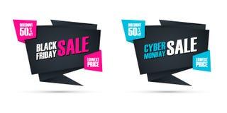 Black Friday Sale och kommersiellt tecken Cybermåndag Sale för specialt erbjudande för affär, befordran och annonsering royaltyfri illustrationer