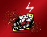 Black Friday Sale with 30 off 50 off 75 off. Vector illustration. The banner with the effect of the blast. Black Friday Sale with 30 off 50 off 75 off. Vector stock illustration