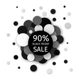 Black Friday Sale 90 percent discount creative banner design. On a modern background of black circles. Vector illustration Stock Illustration