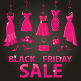 Black friday Sale.Pink party dresses,accessories Royalty Free Stock Image