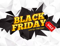 Black Friday sale polygonal background. Discounts promotion banner or flyer. Black friday marketing card poster. 3D Stock Photo
