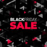 Black Friday sale polygonal background - Shopping discounts promotion. - Illustration - black and red. Polygonal illustration for Black Friday royalty free illustration
