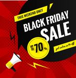 Black friday sale pop art banner. Royalty Free Stock Photography