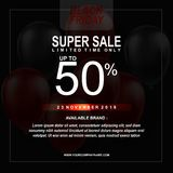 Black Friday Sale Poster with Balloons Background with Square Frame. Vector illustration template. Vector illustration template Black Friday Sale Poster with vector illustration