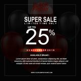 Black Friday Sale Poster with Balloons Background with Square Frame. Vector illustration template. Vector illustration template Black Friday Sale Poster with royalty free illustration