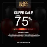 Black Friday Sale Poster with Balloons Background with Square Frame. Vector illustration template. Vector illustration template Black Friday Sale Poster with stock illustration