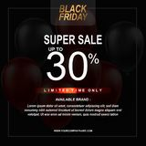 Black Friday Sale Poster with Balloons Background with Square Frame. Vector illustration template royalty free illustration