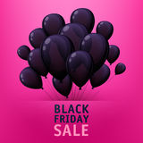 Black friday sale poster with balloons. Black friday sale poster design with black balloons. Bright advertising promotion vector illustration Stock Images