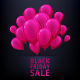 Black friday sale poster with balloons. Black friday sale poster design with pink balloons. Bright advertising promotion vector illustration Stock Photos