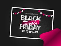 Black Friday Sale poster or banner design with upto 50% discount. Offer on black background decorated with bunting flags royalty free illustration